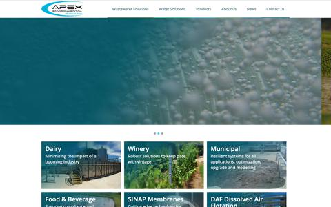 Screenshot of Home Page apexenvironmental.co.nz - Apex Environmental - Innovative Design & Build Solutions for Water & Waste - captured Nov. 12, 2018