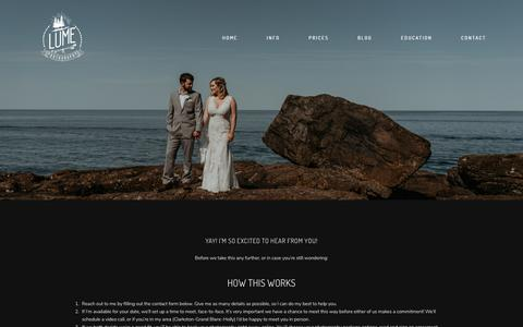 Screenshot of Contact Page lumephotography.com - Contact Me - Inquire for Availability & Info - captured Nov. 13, 2019