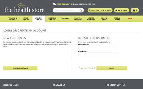 Screenshot of Login Page thehealthstore.ie - Customer Login - captured Dec. 1, 2016