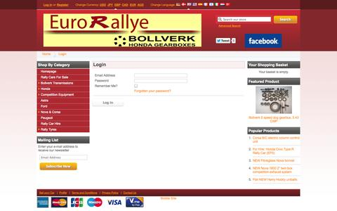 Screenshot of Login Page eurorallye.co.uk - EuroRallye - captured Sept. 30, 2014
