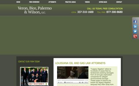 Screenshot of Home Page veronbice.com - Louisiana Oil & Gas Law Lawyer | New Orleans Landowners & Mineral Rights Attorney | Baton Rouge LA Commercial & Business Litigation - captured Oct. 9, 2014