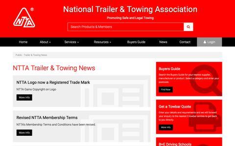 Screenshot of Press Page ntta.co.uk - Public News - NTTA Trailer & Towing Latest News - captured Nov. 9, 2018