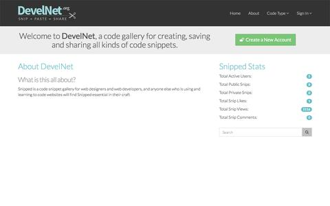 Screenshot of About Page develnet.org - Snipped · Code Snippet Gallery - captured April 1, 2016