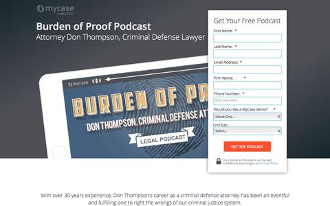 Screenshot of Landing Page mycase.com - Burden of Proof Podcast - Don Thompson :: MyCase Legal Resources - captured May 17, 2017
