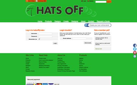 Screenshot of Login Page hatsofflynden.com - Login - hatsofflynden - captured Oct. 2, 2014