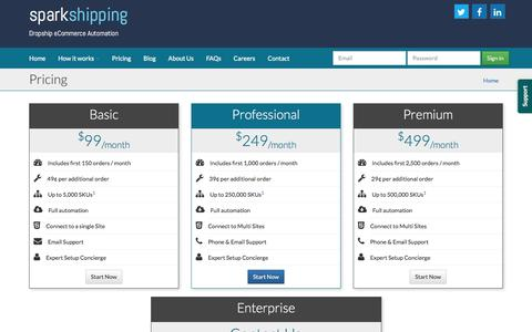 Screenshot of Pricing Page sparkshipping.com - Pricing  - Spark Shipping - captured Jan. 11, 2016