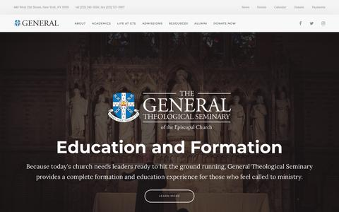 Screenshot of Home Page gts.edu - The General Theological Seminary - captured Sept. 27, 2018