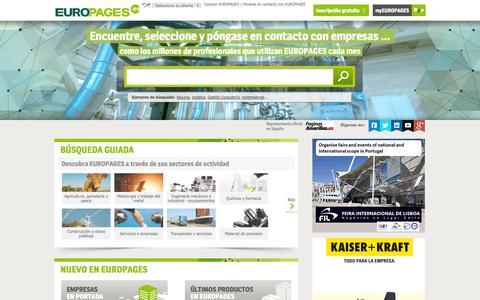 Screenshot of Home Page europages.es - Buscar empresas, productos y servicios B-to-B a escala internacional - EUROPAGES - captured Sept. 23, 2014