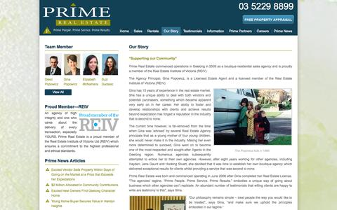Screenshot of About Page primere.com.au - Our Story | Prime Real Estate - captured Oct. 2, 2014