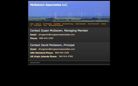 Screenshot of Contact Page webs.com - Contact Us - McGeown Associates LLC - captured Sept. 13, 2014
