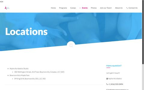 Screenshot of Locations Page aspireacrobatics.ca - Locations | Aspire Acrobatics - captured Aug. 2, 2015