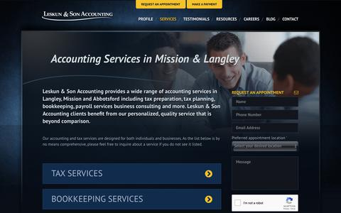 Screenshot of Services Page leskunaccounting.com - Mission & Langley Accounting Services | Bookkeeping & Taxes - captured Sept. 28, 2018