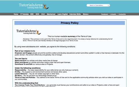 Screenshot of Privacy Page tutorialsarea.com - TutorialsArea - captured Oct. 8, 2014