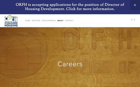 Screenshot of Jobs Page orfh.org - Careers — Office of Rural and Farmworker Housing - captured Oct. 18, 2018