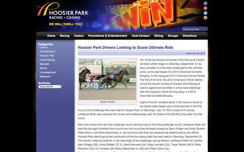 Screenshot of Blog hoosierpark.com - Hoosier Park - captured Sept. 30, 2014