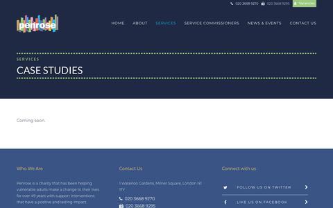 Screenshot of Case Studies Page penrose.org.uk - Case Studies - Penrose - captured Nov. 4, 2018