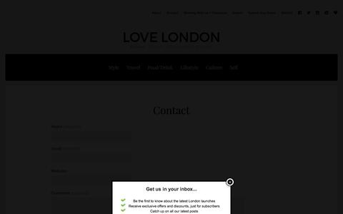 Screenshot of Contact Page love-london.co.uk - Contact   Love London   Lifestyle Blog - captured Jan. 15, 2016