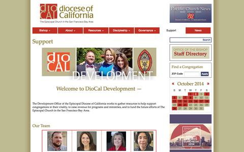 Screenshot of Support Page diocal.org - Support | The Diocese of California - captured Oct. 2, 2014