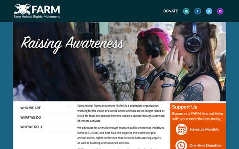 Screenshot of Home Page farmusa.org - Farm Animal Rights Movement - captured Nov. 14, 2018