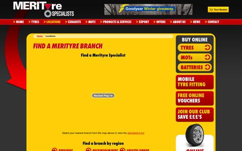 Screenshot of Locations Page merityre.co.uk - Find a Merityre Centre | Tyre Specialists | Merityre - captured Oct. 27, 2014