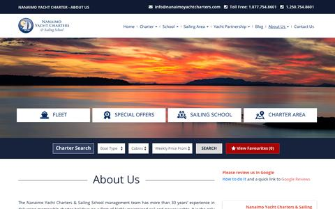Screenshot of About Page nanaimoyachtcharters.com - Charter Company - The Nanaimo Yacht Charters & Sailing School - captured Sept. 23, 2018
