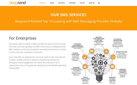 Screenshot of Services Page beepsend.com - The power of SMS messaging - captured March 5, 2016