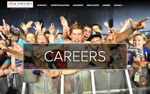 Screenshot of Jobs Page livenationentertainment.com - Careers : Live Nation Entertainment - captured Sept. 19, 2014