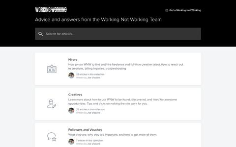 Screenshot of Support Page workingnotworking.com - Working Not Working Help Center - captured July 5, 2019