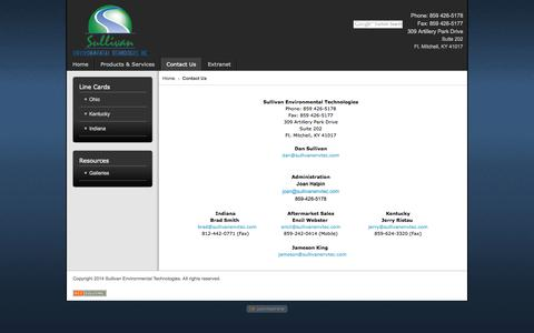 Screenshot of Contact Page sullivanenvtec.com - Contact Us - Sullivan Environmental Technologies 2014 - captured Oct. 7, 2014