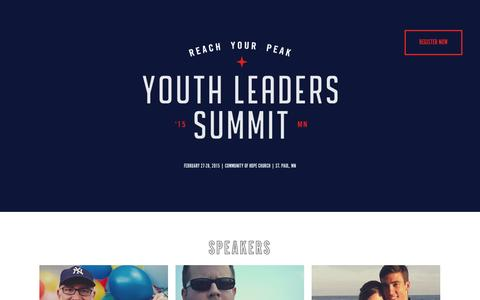 Screenshot of Home Page ylsummit.com - Youth Leaders Summit 2015 - captured Oct. 6, 2014