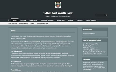 Screenshot of About Page samefortworth.org - About – SAME Fort Worth Post - captured Feb. 15, 2016
