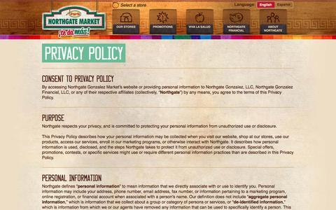 Screenshot of Privacy Page northgatemarkets.com - Northgate Markets > Privacy Policy - captured June 14, 2017