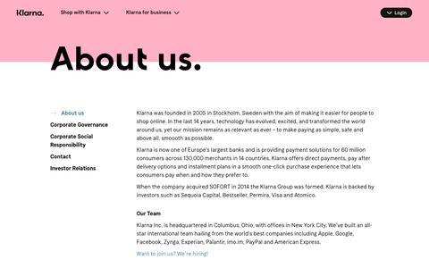 Screenshot of About Page klarna.com - About us | Klarna US - captured July 4, 2019