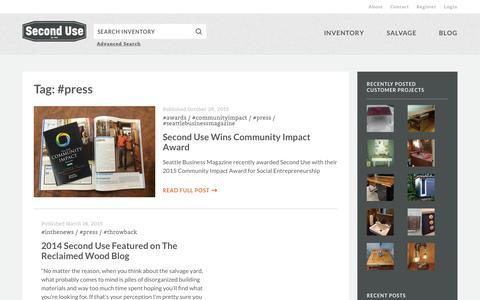 Screenshot of Press Page seconduse.com - #press | Second Use - captured Dec. 4, 2015