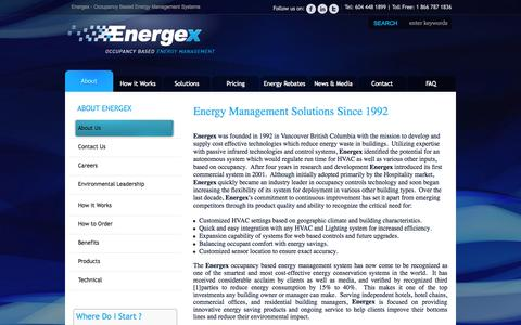 Screenshot of About Page energexinc.com - Energy Management Solutions Provider | About Energex - captured Sept. 30, 2014