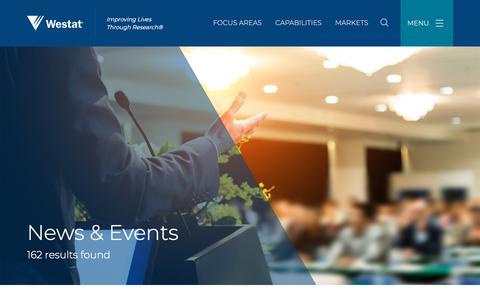 Screenshot of Press Page westat.com - News & Events   Westat - captured July 17, 2018