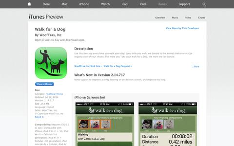 Screenshot of iOS App Page apple.com - Walk for a Dog on the App Store on iTunes - captured Dec. 16, 2014