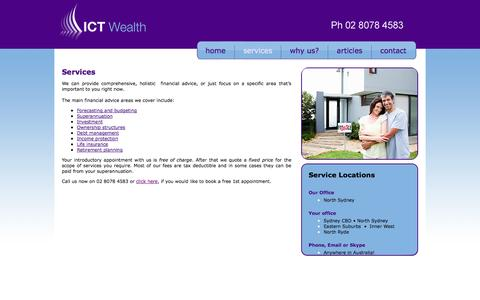 Screenshot of Services Page ictwealth.com.au - ICT Wealth - Financial Planning Services - captured Sept. 30, 2014