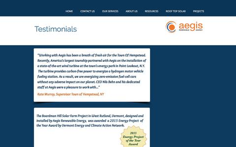 Screenshot of Testimonials Page aegis-re.com - Aegis Renewable Energy Inc. Testimonials - captured Oct. 7, 2017