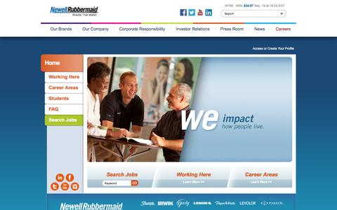 Screenshot of Jobs Page newellrubbermaid.com - Careers at Newell Rubbermaid - captured Sept. 23, 2014