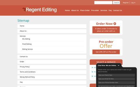 Screenshot of Site Map Page regentediting.com - Sitemap - Regent Editing - captured Dec. 1, 2016