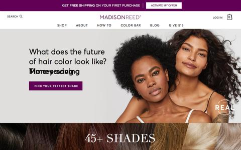Screenshot of Home Page madison-reed.com - Professional Hair Color at Home from Madison Reed - captured April 17, 2018