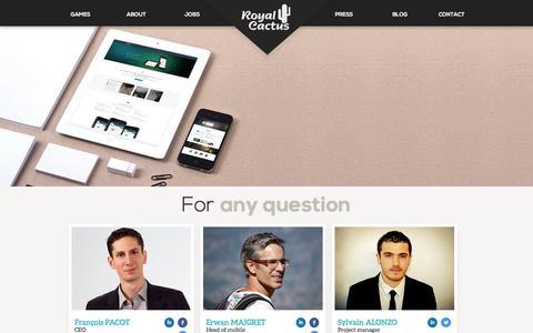 Screenshot of Contact Page royalcactus.com - Contact | RoyalCactus - captured Sept. 17, 2014