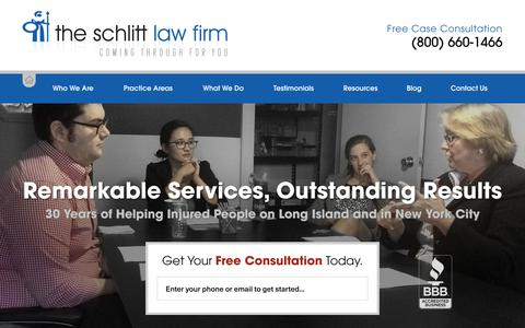 Screenshot of Home Page schlittlaw.com - The Schlitt Law Firm | Long Island personal injury lawyer coming through for you - captured Oct. 6, 2015
