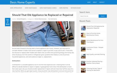 Screenshot of Home Page desis-china.org - Desis Home Experts - A Guide to Home Maintenance - captured Feb. 8, 2016