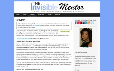 Screenshot of Services Page theinvisiblementor.com - Expert Interviewing Services - captured Sept. 24, 2014