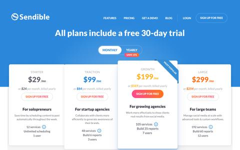 Screenshot of Pricing Page sendible.com - Social Media Management Pricing & Plans | Sendible - captured July 19, 2019