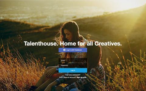 Screenshot of Login Page talenthouse.com - Talenthouse - captured Feb. 17, 2016