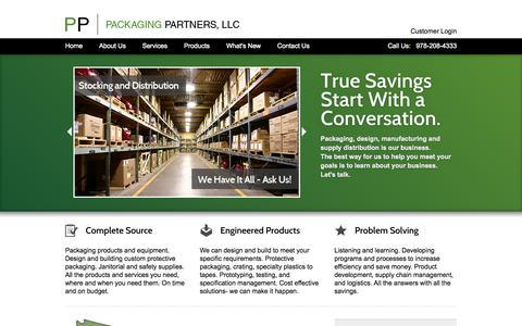 Screenshot of Home Page packagingpartnersllc.com - Packaging Partners - captured Sept. 27, 2014