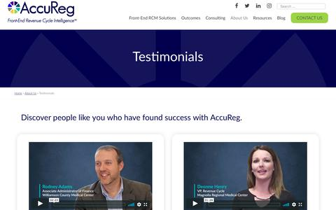 Screenshot of Testimonials Page accuregsoftware.com - Testimonials - AccuReg Software - captured Jan. 18, 2020